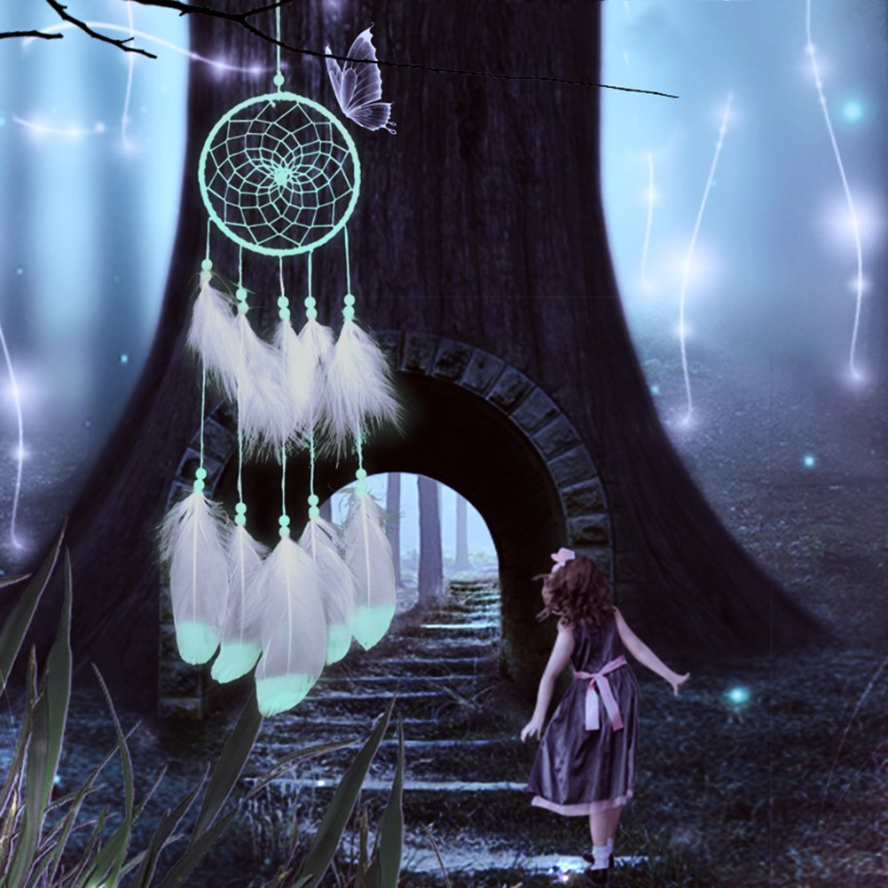 ksruee Fluorescent Dream Catcher Home fait main pendentif ornements Cadeaux de la Saint-Valentin Noctilucous Wind Chimes MOLIE