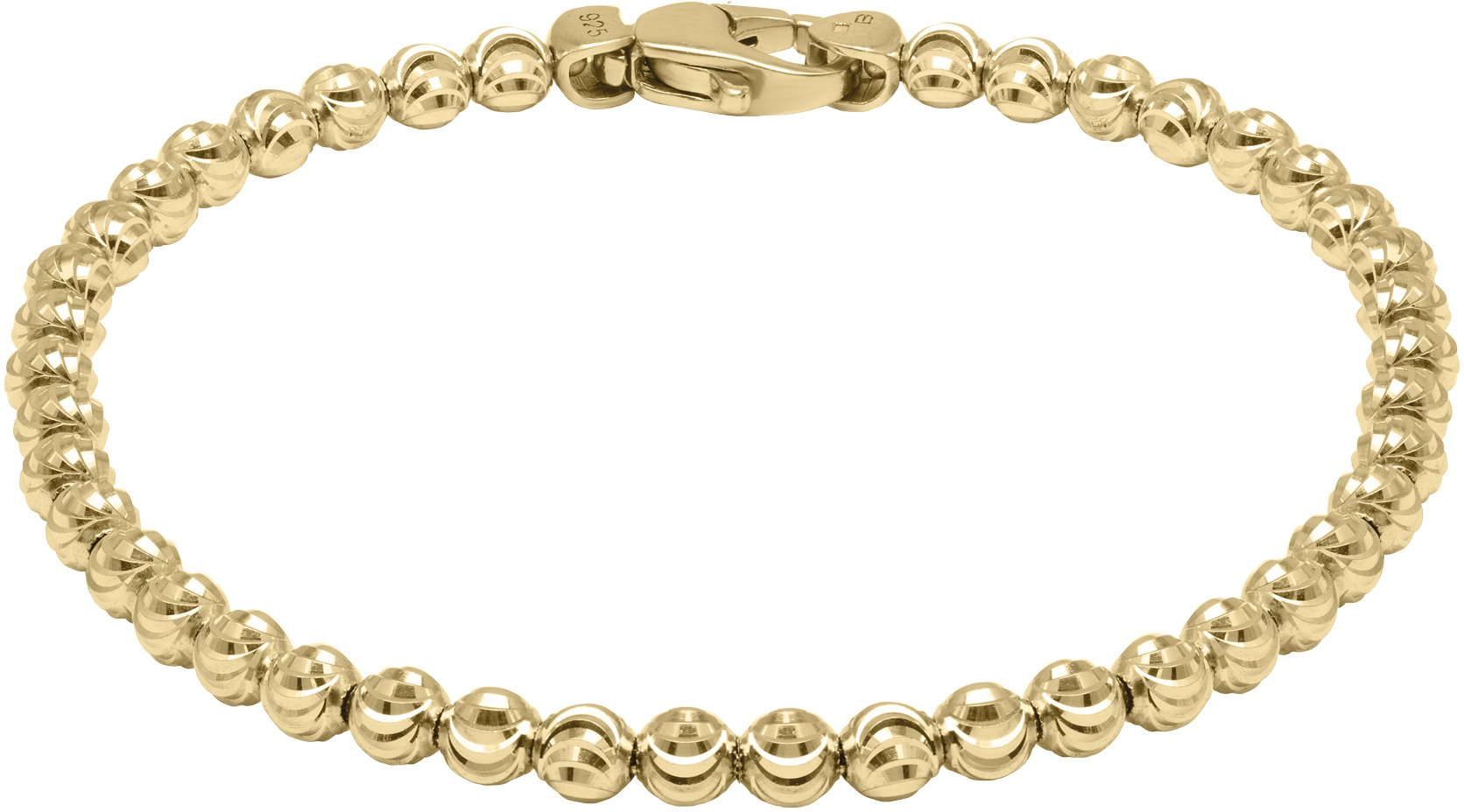 Officina Bernardi - Moon Collection - Bracelet (4 Color Choice) - Italian 925 Sterling Silver (yellow-gold-flashed-silver, 8 Inches)