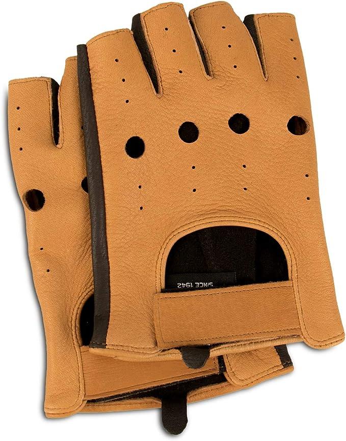Nappaglo donne classico mezzo dito pelle guanti da guida senza dita la pelle dagnello fitness outdoor unlined guanti