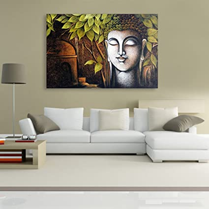 225 & Inephos Unframed Canvas Painting - Beautiful Buddha Art Wall Painting for Living Room Bedroom Office Hotels Drawing Room (91cm X 61cm)