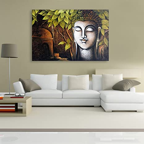 Inephos Unframed Canvas Painting - Beautiful Buddha Art Wall Painting for  Living Room, Bedroom, Office, Hotels, Drawing Room (91cm X 61cm)