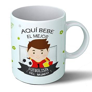 Planetacase Taza Desayuno Aquí Bebe el Mejor fubolista del Mundo Regalo Original fútbol Ceramica 330 ML: Amazon.es: Hogar