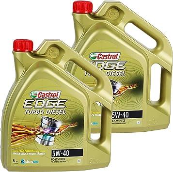 2x 5 L 10 Liter Castrol Edge Turbo Diesel Fluid Titanium 5w 40 Motoröl Inkl Castrol Ölwechselanhänger Auto