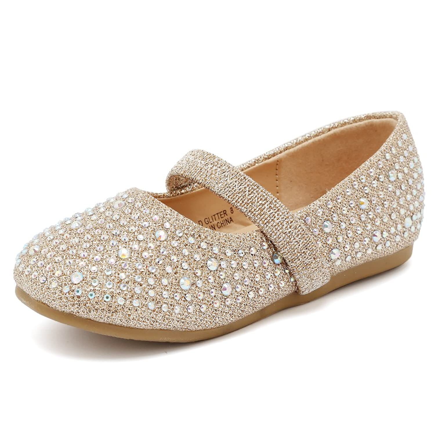 CIOR Toddler Girls Ballet Flats Shoes Beaded Rhinestone Ballerina Bowknot Jane Mary Wedding For Party Princess Dress from Merence