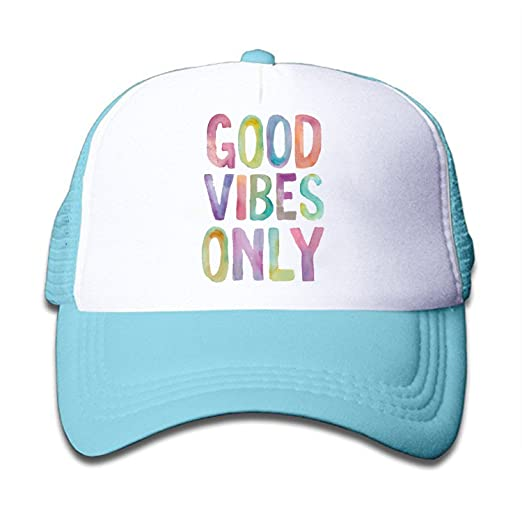 5f308c9fc6afe Image Unavailable. Image not available for. Color  ZMvise Unisex Rainbow  Good Vibes Only Custom Printed Cute Baseball Cap Trucker Mesh Hat