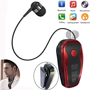 Bluetooth Headset Wireless Headphones Business Earbud with Clip Retractable Noise Canceling Earbud Compatible with Samsung iPhone Huawei LG Smart Phone