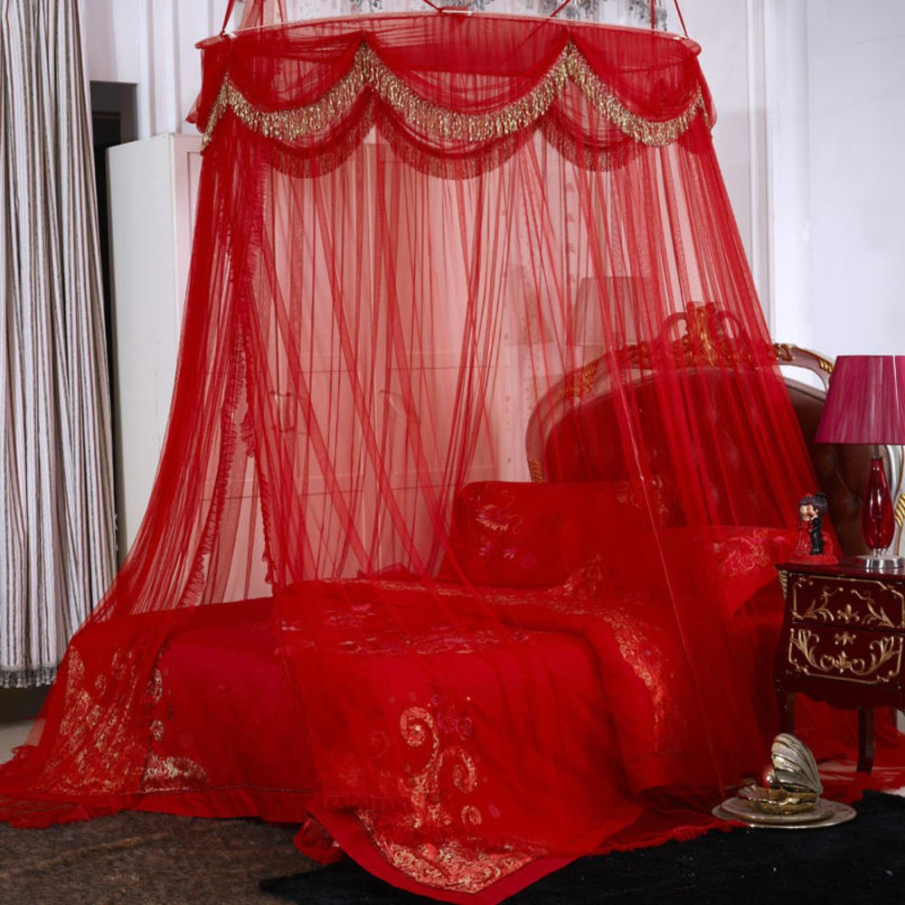 Red wedding round ceiling mosquito net, Floor-standing 1-door Double Residential bed canopy-B King