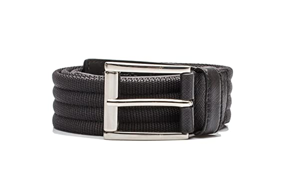3b901a7094 Prada Men's Stripe Pattern Nylon Belt Black: Prada: Amazon.co.uk ...