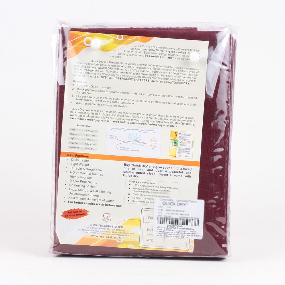 Buy Quick Dry Waterproof Bed Protector Medium   Maroon, M Online At Low  Prices In India   Amazon.in