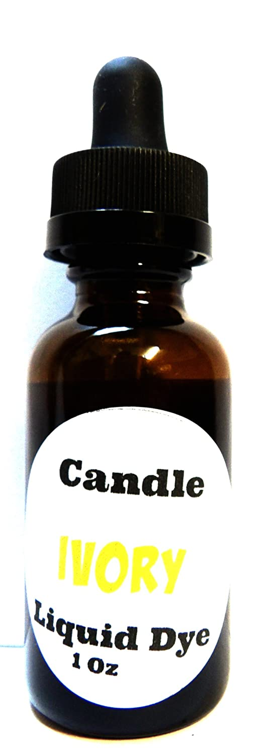 Liquid Candle Dye (Ivory) - 1oz Amber Glass Dropper Bottle with Childproof Lid Premium Dye for All Waxes Exp Soy Wax Mels Candles & More