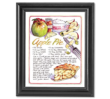 recipe homemade apple pie kitchen wall picture framed art print - Homemade Pie Kitchen