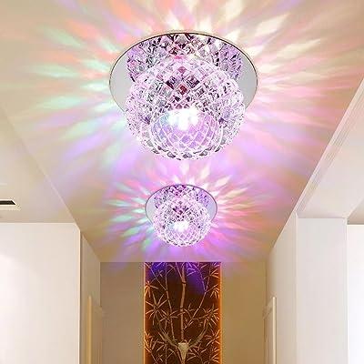 5W LED Eclairage Encastré Cadre et Lampe LED Downlight Lampe Intégrée Spots de Plafond Rond Moderne Cristal Applique Murale pour Vestibule, Couloir, Entrée Ø 12CM , Coloré
