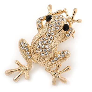 Gold Plated Clear/ Black Crystal Frog Brooch - 50mm L ZFxDlyid