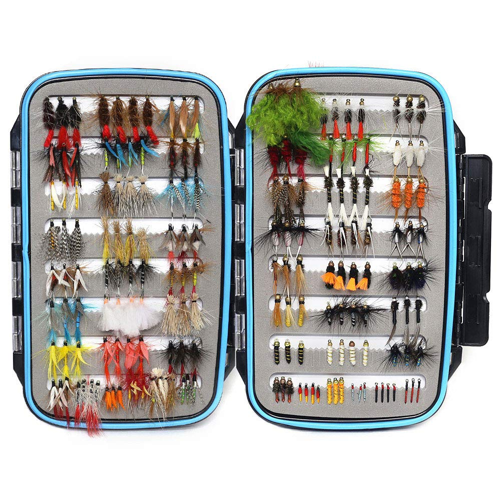 YZD Trout Fly Fishing Flies Collection 225/180/120/118/60 Premium Flies Dry Wet Nymph Streamers Fly Assortment with Fly Box Flyfishing Flys Lures Kits (Ultimate Trout Fly Selection 180 Pcs)