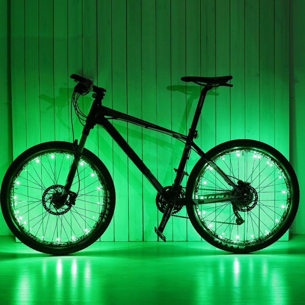 1 Stück Fahrrad Rad Reifen Draht Felge 20 LED Reflektor Grün ...