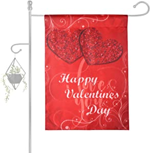 Konsait Happy Valentine's Day Red Heart House Flag Valentines Garden Flag for Valentine's Day Decoration Home Outdoor Yard Flag Double Sided, Polyester, Durable, Weather Resistant, 12 x 18 Inch