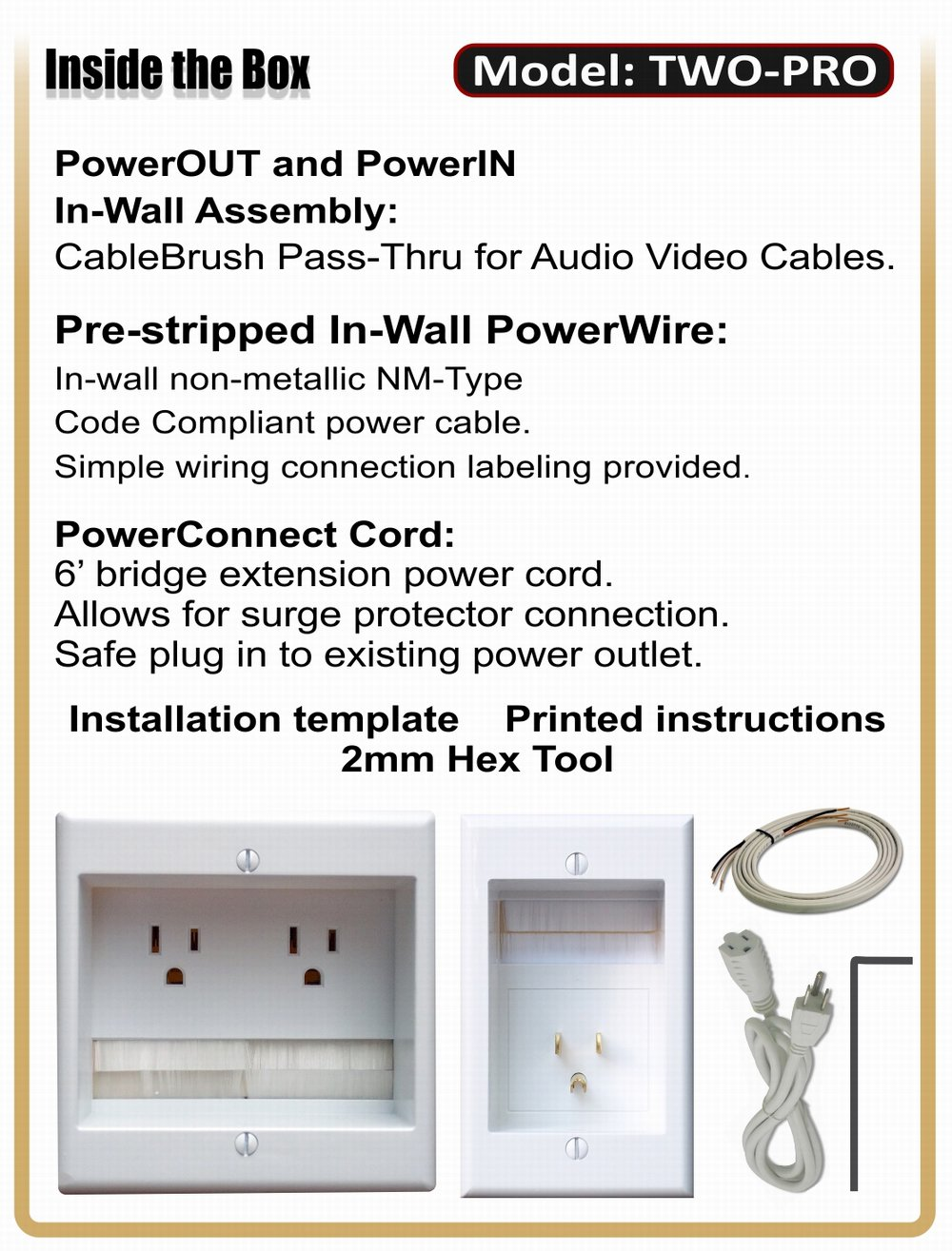Powerbridge Two Pro 6 Dual Power Outlet Professional Grade Recessed Electrical Wiring In Wall Cable Management System For Mounted Flat Screen Led Lcd And Plasma Tvs
