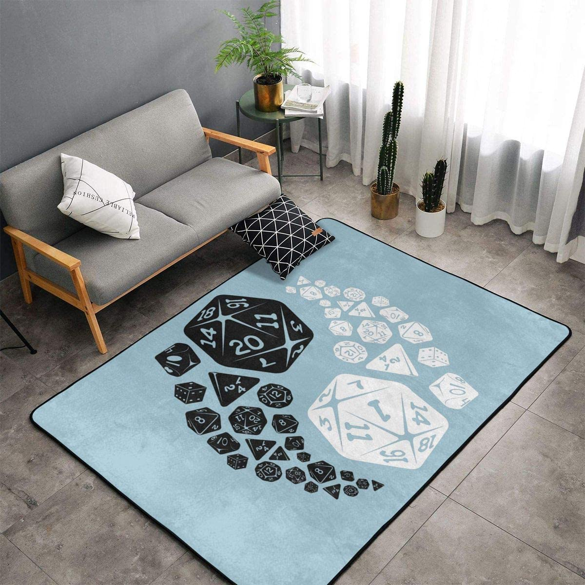Indoor Modern Soft Floor Area Rugs Fluffy Machine Washable Carpets 60 X 39 Dungeons and Dragons Yin Yang Suitable