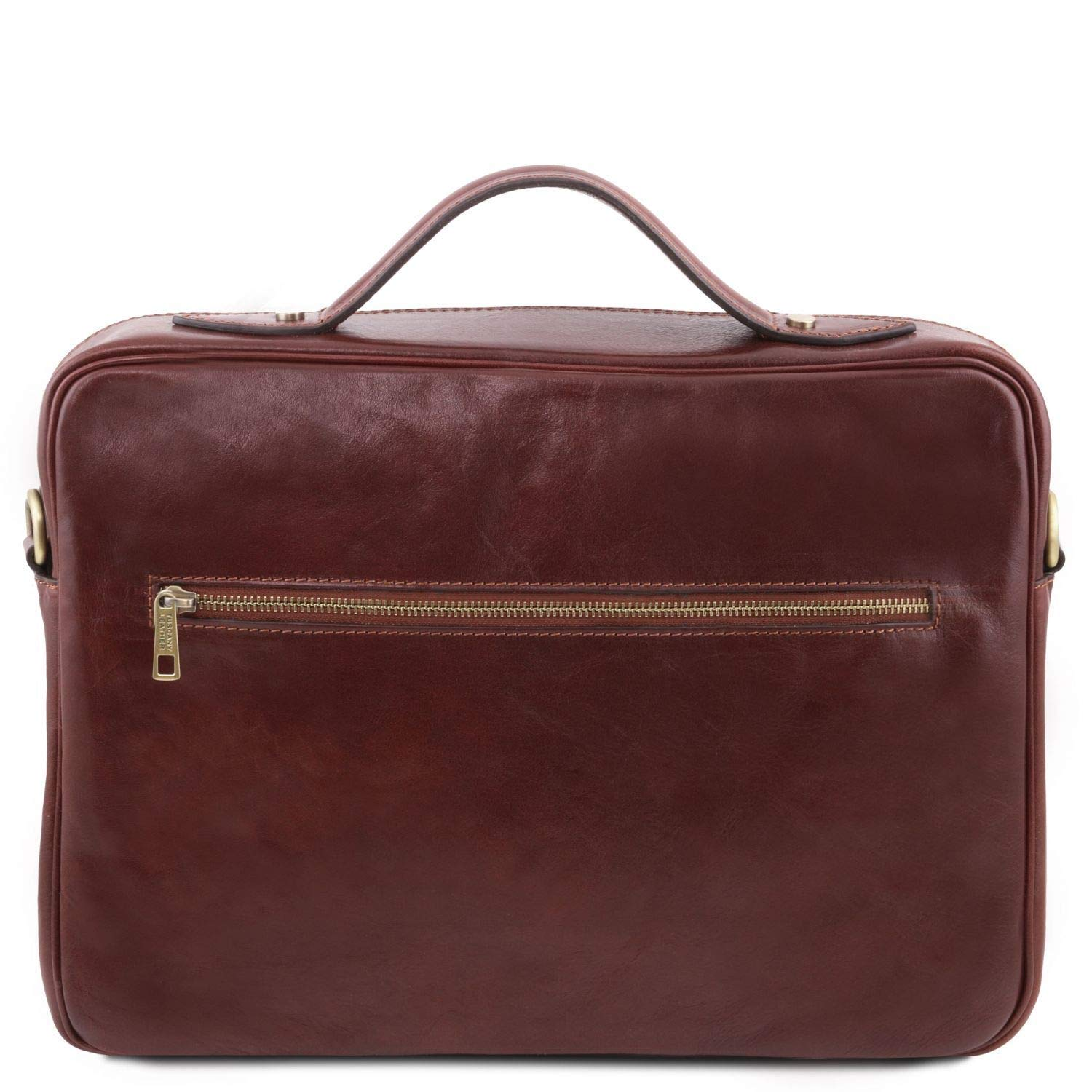 Leather laptop briefcase with zip closure Vicenza TL141240 Tuscany Leather