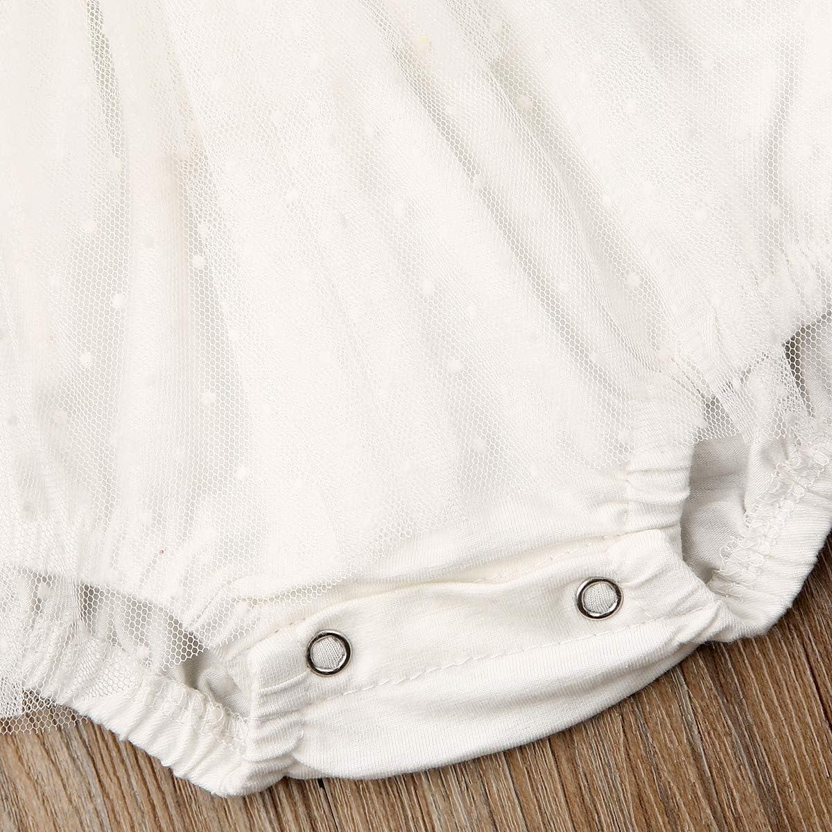 Misown Newborn Infant Baby Girl Princess Dress Bodusuit Bib Lace V Neck Sleeveless Backless Romper Tutu Wedding Dress