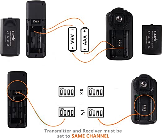 Alta velocidad 320ft 100m Disparador remoto inal/ámbrico para c/ámaras digitales SLR Canon G10//G11//G15//G16//G12//G1X//SX50//700D//EOS//1200D//1100D//1000D//650D//600D//550D//500D//450D//400D//350D//300D//100D//60D Series//70D Pentax K5//K7//K10//K20//K100// Kaavie