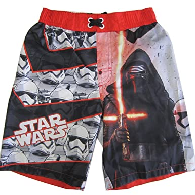 c79742ff01771 Star Wars Little Boys Red Black Character Graphic Print Swimwear Shorts 4