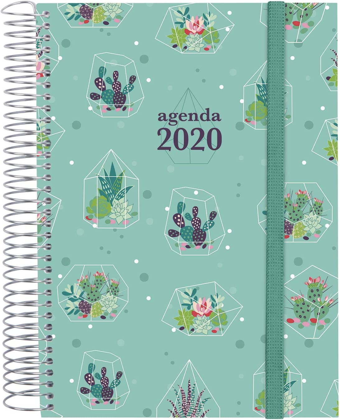 Finocam - Agenda 2020 1 día página Espiral Design Collection Cactus español