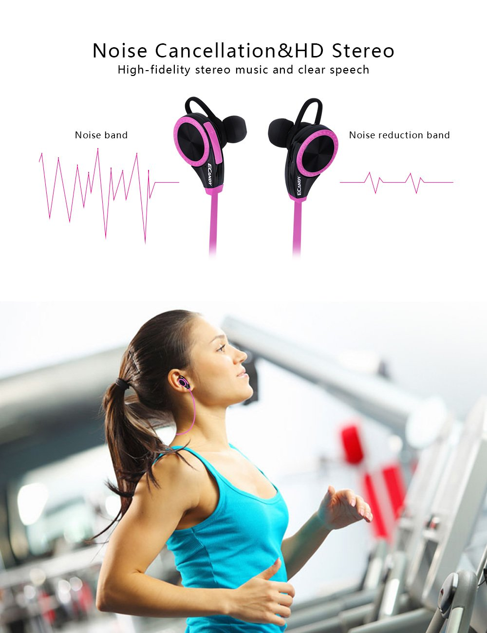 Wireless Bluetooth Runner Headset Sport Headphones with Mic, Ecandy Sweatproof Earbuds for Gym Running Noise Cancelling Headsets - Rose