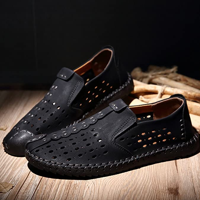 TDA Men's Hot New Summer Breathable Leather Slip-on Hiking Sneakers Shoes:  Amazon.ca: Shoes & Handbags