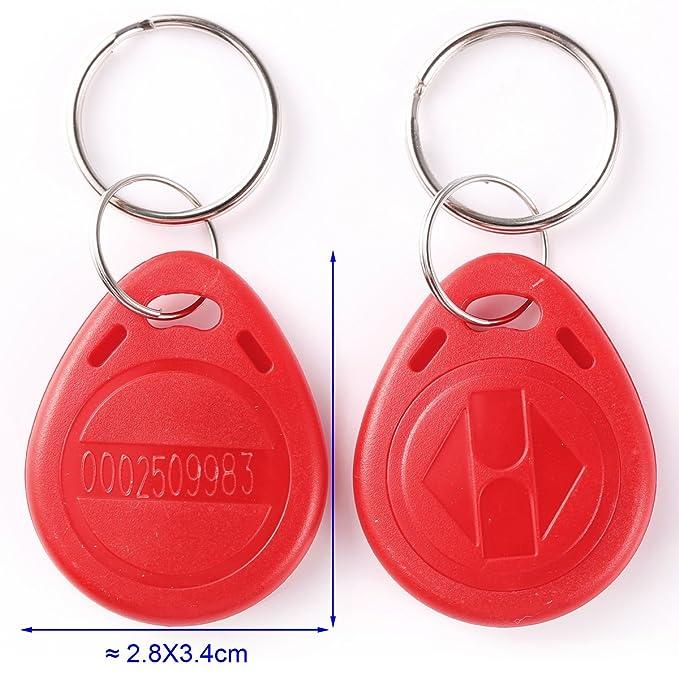 YARONGTECH 125KHz RFID proximidad Keyfobs Anillo tarjeta de control de acceso RFID Tag Azul Gris Rojo Negro y Naranja 100 unidades