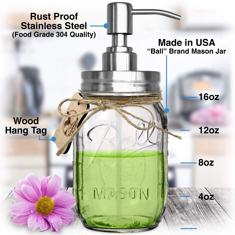 Premium resistente a la corrosión 304 18/8 acero inoxidable MASON tarro dispensador de jabón/dispensador de loción Kit por Premium casa calidad - incluye 16 ...