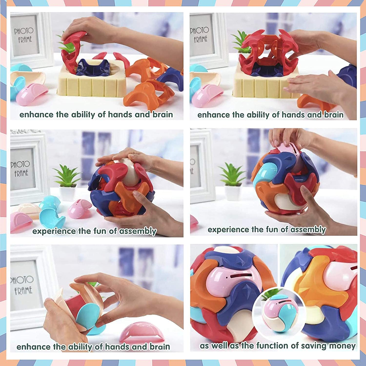 Puzzle Ball Games for Kids Bank I Baby Ball Toy Puzzle for Kid I Plastic Balls for Kids Puzzle I 3D Puzzle for Kids Money Bank,Assembly Building Blocks Educational Toys for Kids 1-13 Teasers Toys