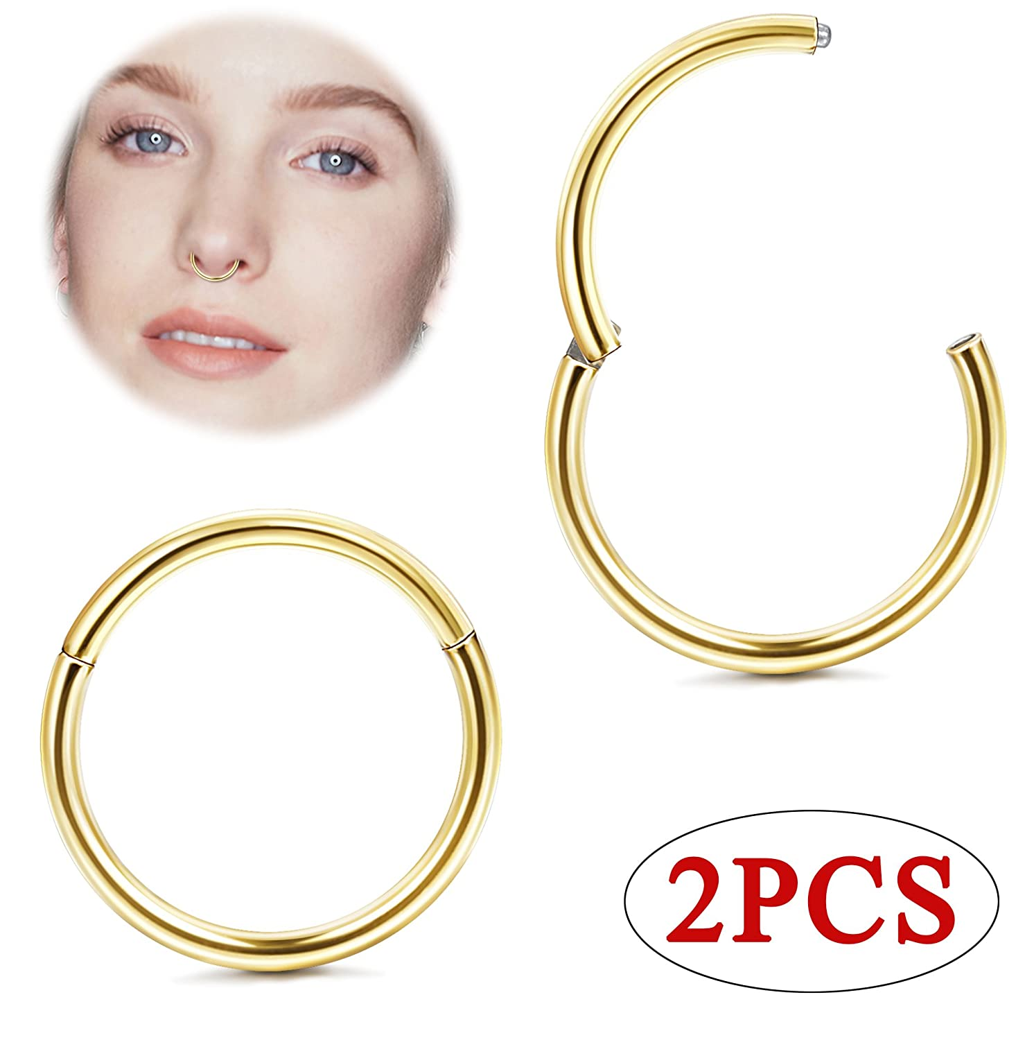 Jstyle 1Pair 20G Stainless Steel Hinged Clicker Segment Nose Ring Hoops Helix Daith Cartilage Tragus Sleeper Earrings Body Piercing WCC7298-S