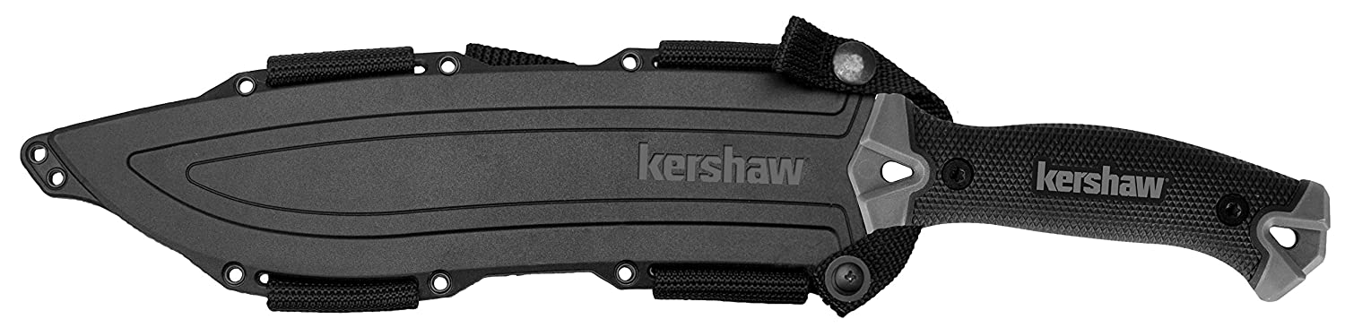 Kershaw Camp 10 1077 , Fixed Blade Camp Knife, 10-inch 65Mn Carbon Tool Steel, Basic Black Powdercoat, Full Tang Handle With Rubber Overmold, Dual Lanyard Holds, Includes Molded Sheath, 1LB. 3OZ.