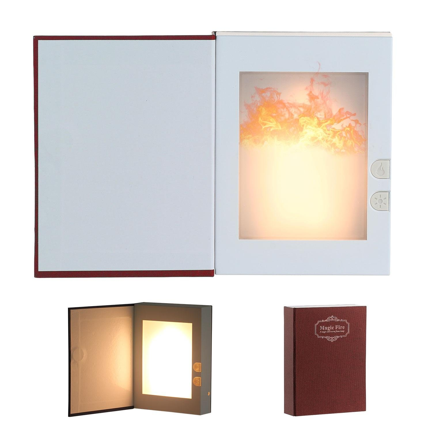 Pawaca LED Flame Effect Fire Light, USB Rechargable Book Shaped Light Flickering Fire Atmosphere Decorative Lamps for Decor, Magic book Design- Creative gift for Birthday, Lovers, Holiday