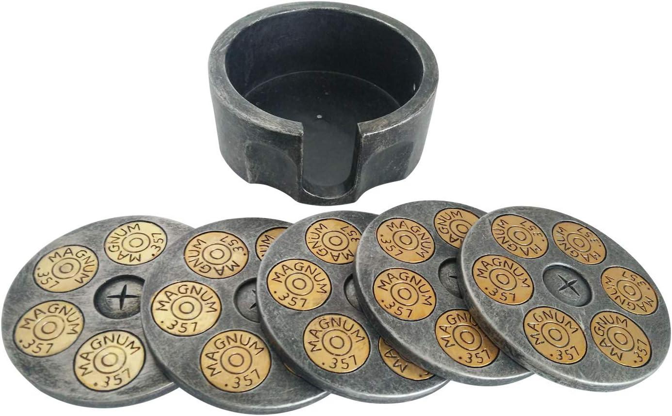 Pine Ridge 6 Buckshot Bullet Drink Coaster Set of 5 with Silver Metal Base Holder