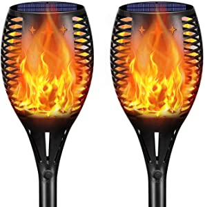 Landscape Solar Torch Lights,YULAMP Waterproof Flickering Flames Torches Lights Outdoor Solar Flame Light Decoration Lighting Dusk to Dawn Auto On/Off Security Torch Light for Deck Yard Driveway 2Pack