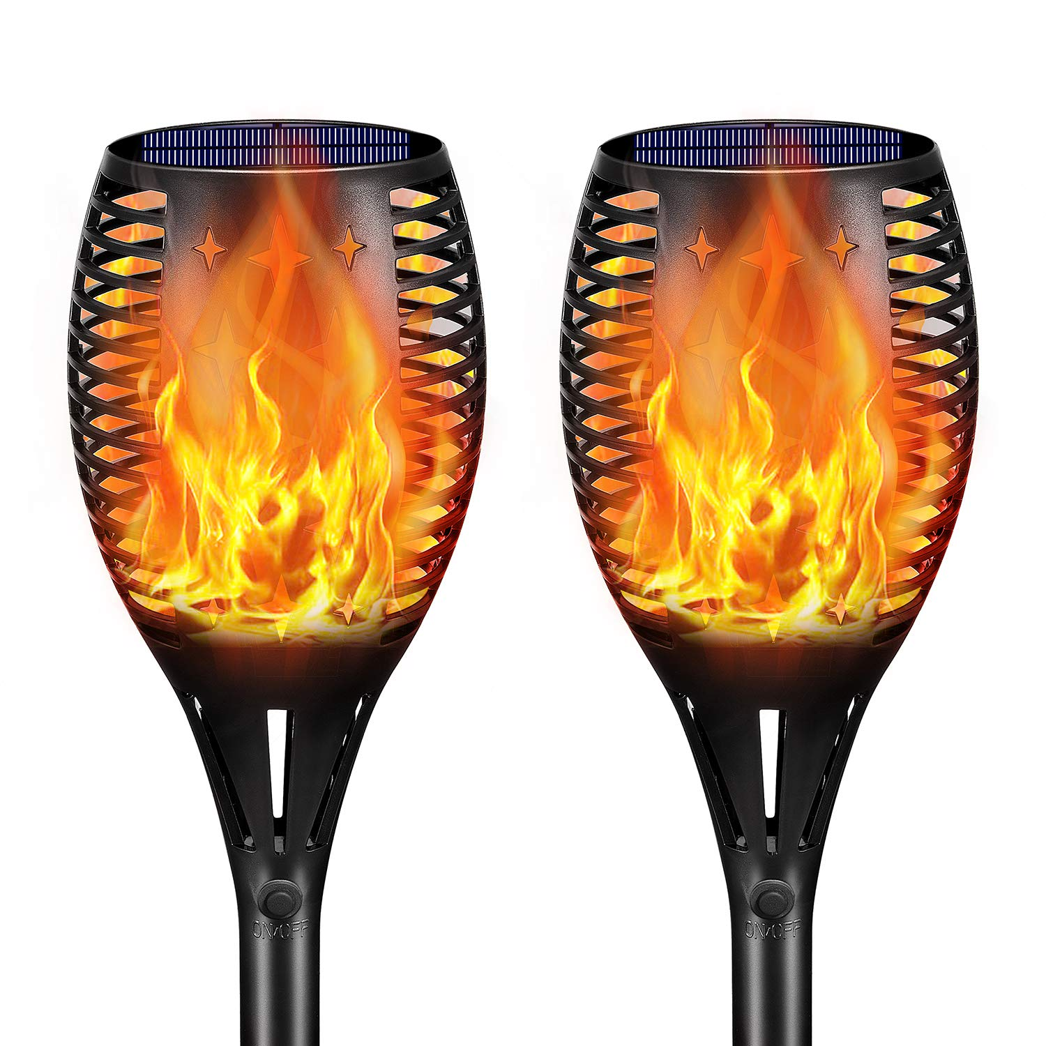 Landscape Solar Torch Lights,YULAMP Waterproof Flickering Flames Torches Lights Outdoor Solar Flame Light Decoration Lighting Dusk to Dawn Auto On/Off Security Torch Light for Deck Yard Driveway 2Pack by YULAMP