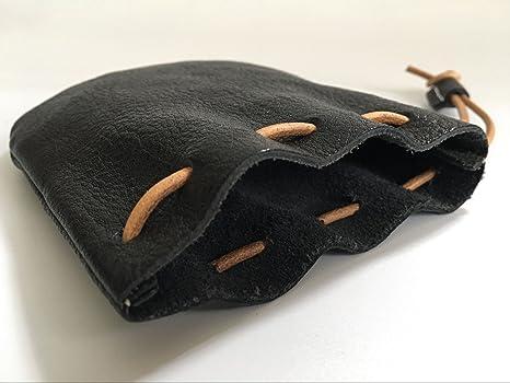 Amazon.com: Monedero de piel auténtica con cordón y acabado ...