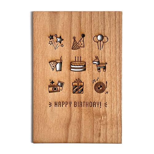 Amazon Birthday Party Laser Cut Wood Card Greeting