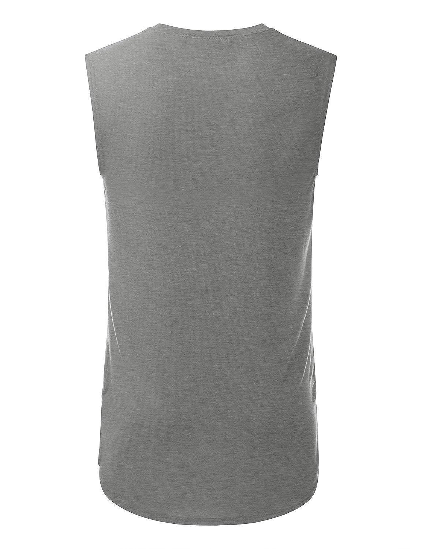 Doublju Mens Casual Sleeveless Tank Top Tees with Bottom Logo
