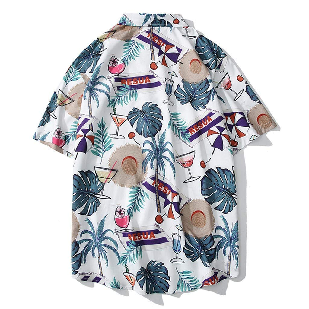 ERLOU Mens Summer Print Turn-Down Collar Slim Fit Short Sleeve Blouse Loose-Fit Tank Tops Casual T-Shirts