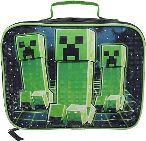 Borsa porta pranzo verde con scomparto per bambini Creeper Minecraft