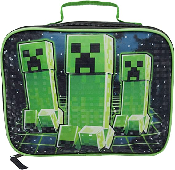 Image of Minecraft Creeper Kids/Boys Lunch Box School Food Container Bolsa para niños