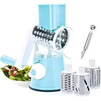 Rotary Vegetable Chopper,Cheese Grater Mandoline Kitchen Vegetable Shredder with 3 Interchangeable Blades for Fruit…