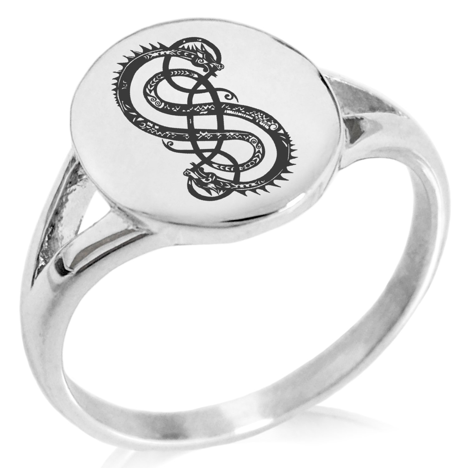Tioneer Stainless Steel God of Mischief Loki Viking Norse Symbol Minimalist Oval Top Polished Statement Ring, Size 8