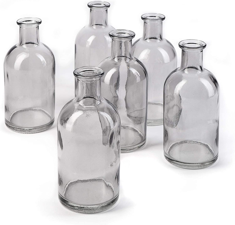 Bud Vases, Apothecary Jars, Decorative Glass Bottles, Centerpiece for Wedding Reception, Elegant Antique Decoration, Mini Flower Vases, Small Medicine Bottles for Home Decor (Smoke Gray, Set of 6)