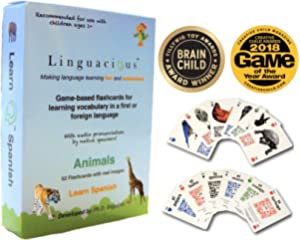 Linguacious Award-Winning Spanish Animals Flashcard Game - The ONLY One with Audio!