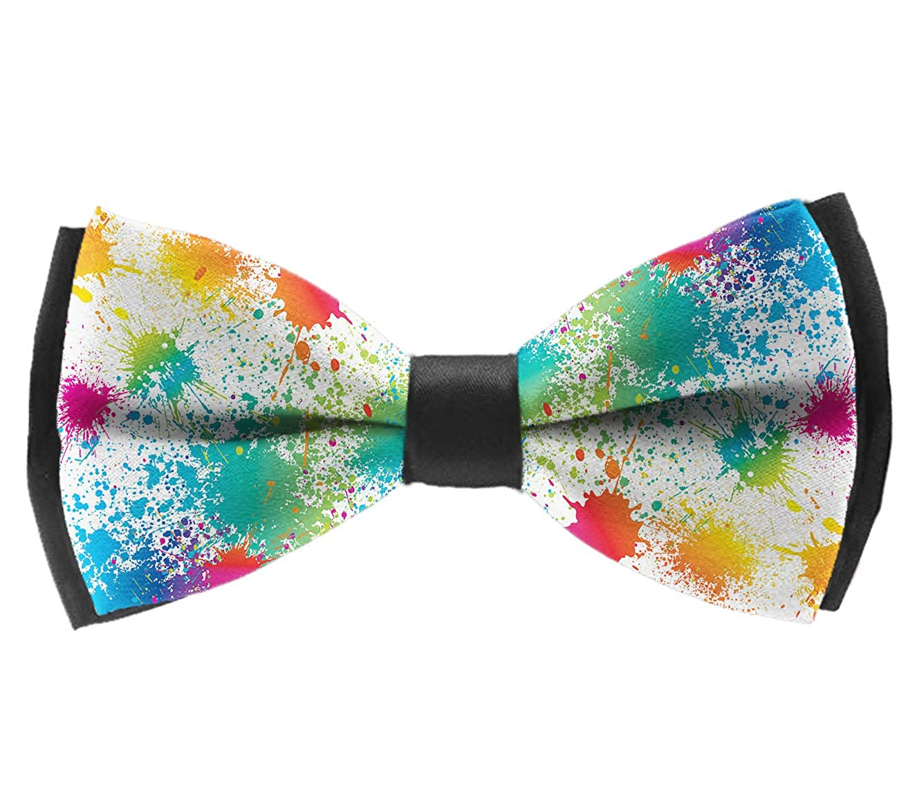 Satin Bowties Paint Splatter Colorful Pre-Tied Formal Neckwear Necktie