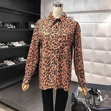 BYZ Manga Larga con Estampado de Leopardo de Temperamento Retro de Manga Larga en la Camisa de Camisa de Párrafo Largo Camisa Casual Mujer,Fondo negro,Código promedio: Amazon.es: Hogar